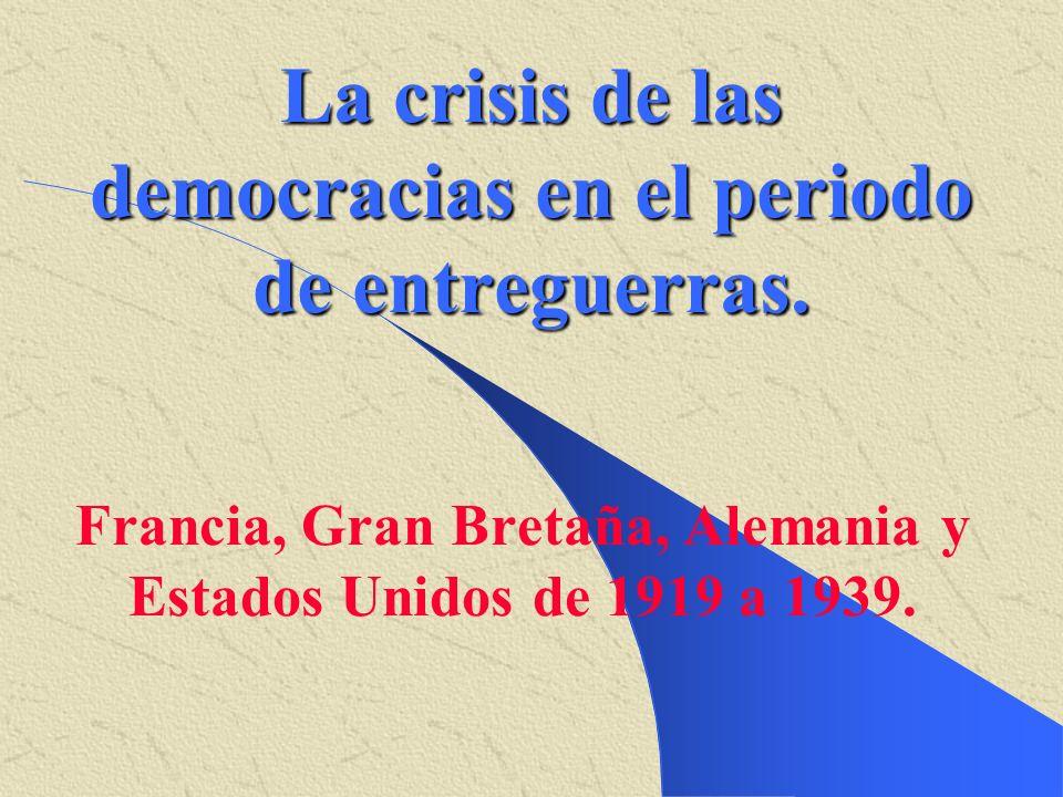 La crisis de las democracias en el periodo de entreguerras.