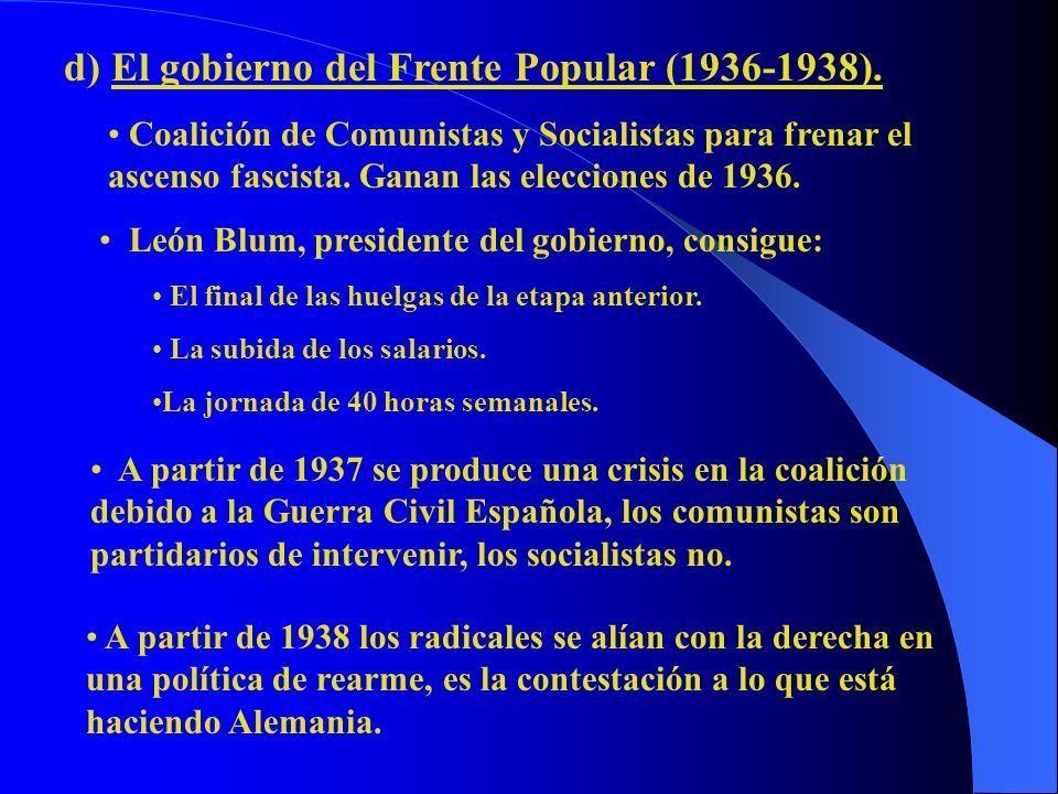 d) El gobierno del Frente Popular (1936-1938).