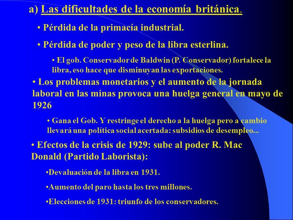 a) Las dificultades de la economía británica.