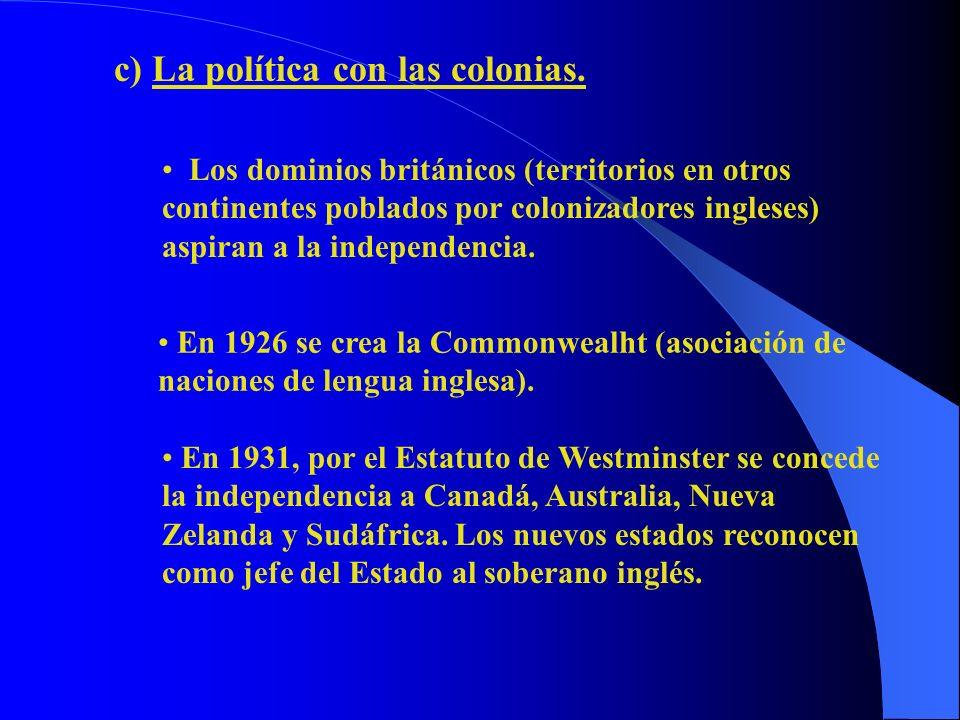 c) La política con las colonias.
