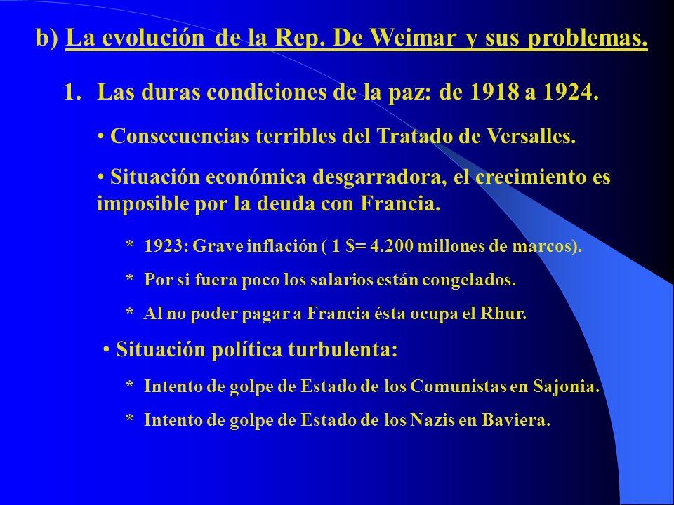 b) La evolución de la Rep. De Weimar y sus problemas.