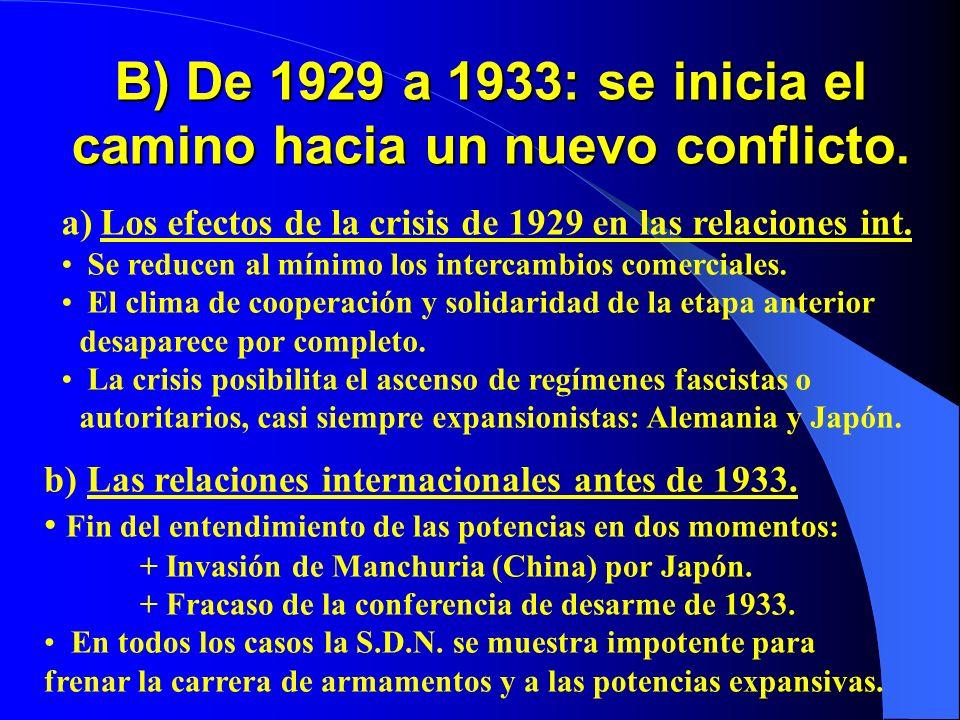 B) De 1929 a 1933: se inicia el camino hacia un nuevo conflicto.