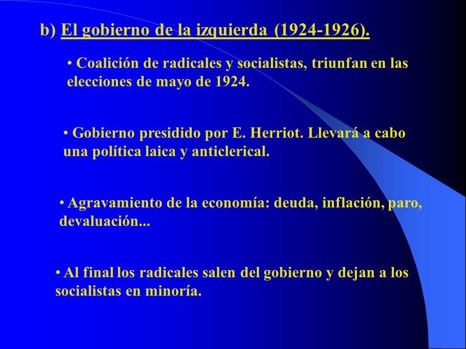 b) El gobierno de la izquierda (1924-1926).