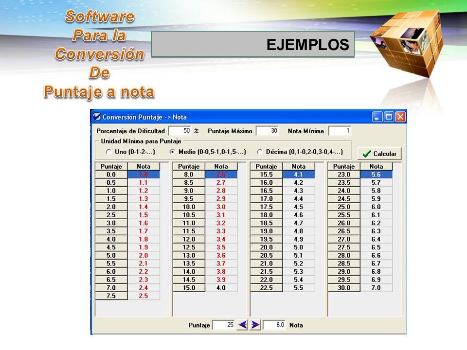 Software Para la Conversión De Puntaje a nota EJEMPLOS