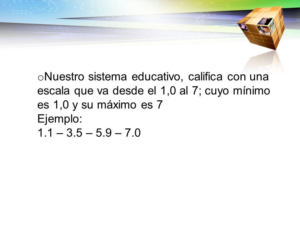 Nuestro sistema educativo, califica con una escala que va desde el 1,0 al 7; cuyo mínimo es 1,0 y su máximo es 7