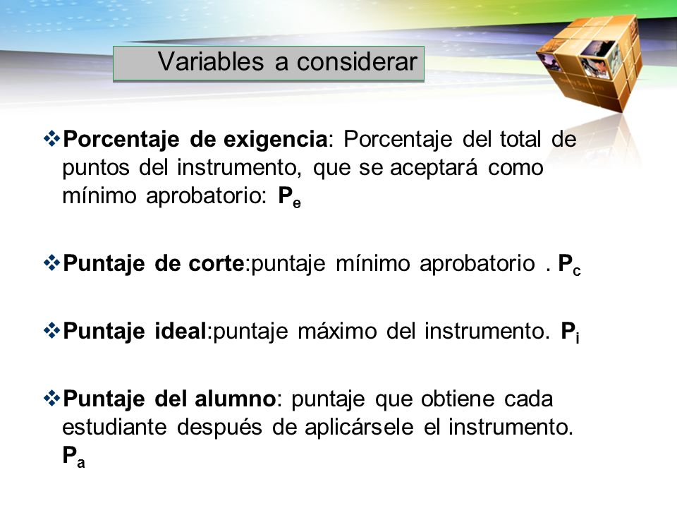 Variables a considerar