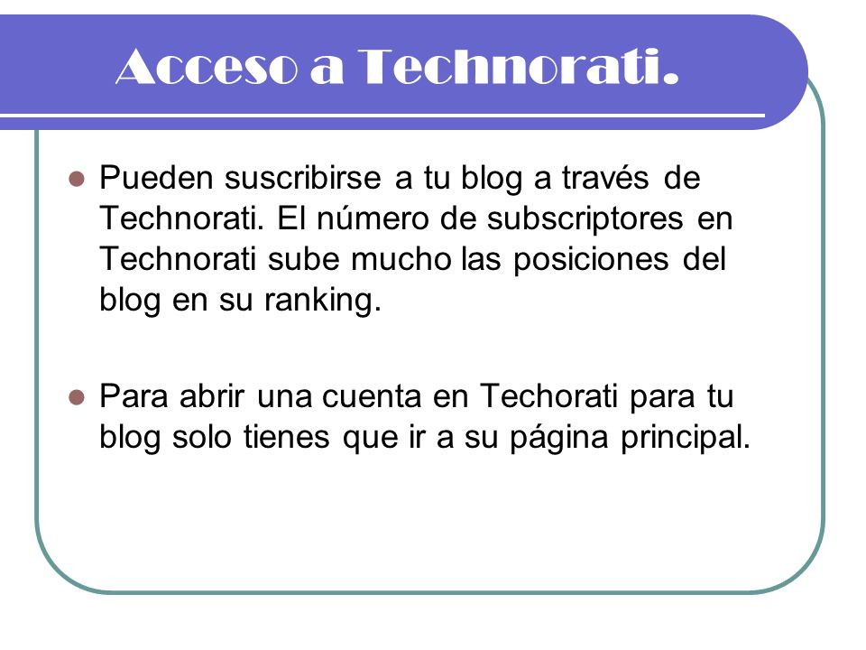Acceso a Technorati.