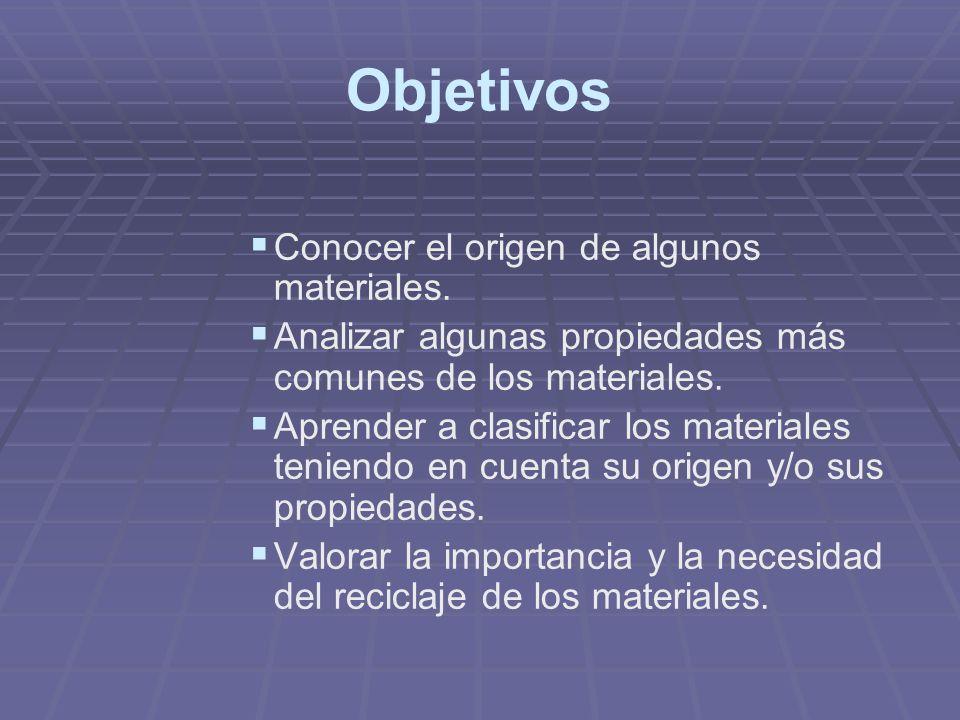 Objetivos Conocer el origen de algunos materiales.
