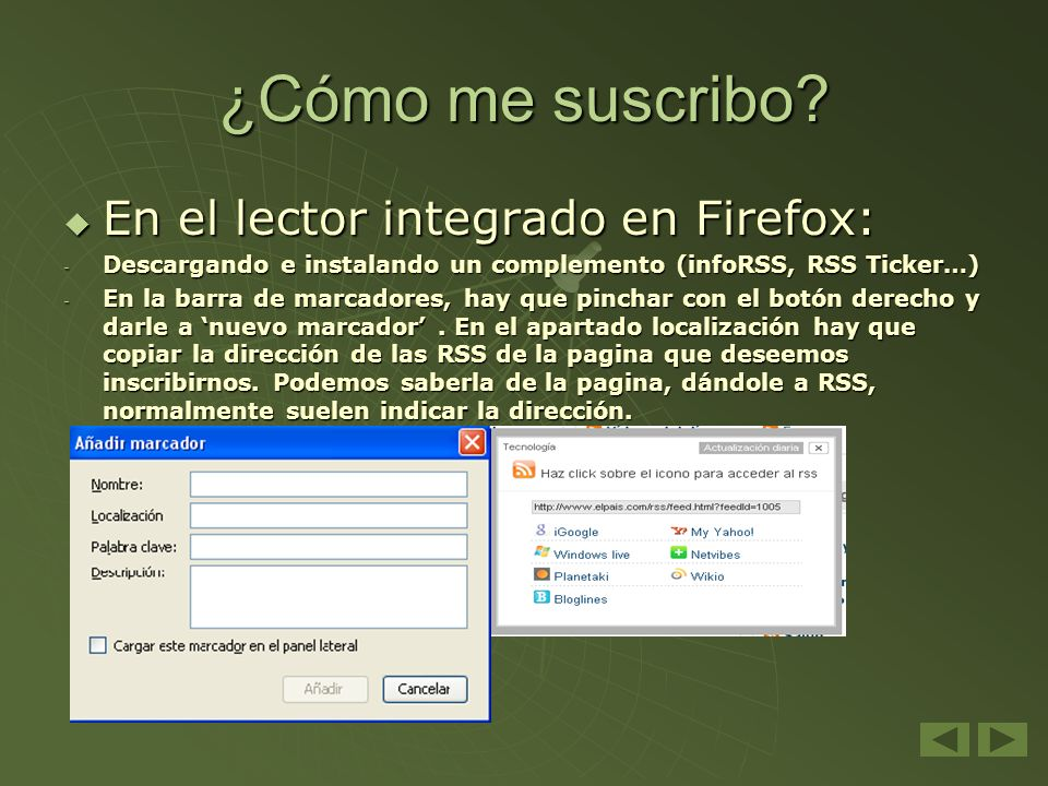¿Cómo me suscribo En el lector integrado en Firefox: