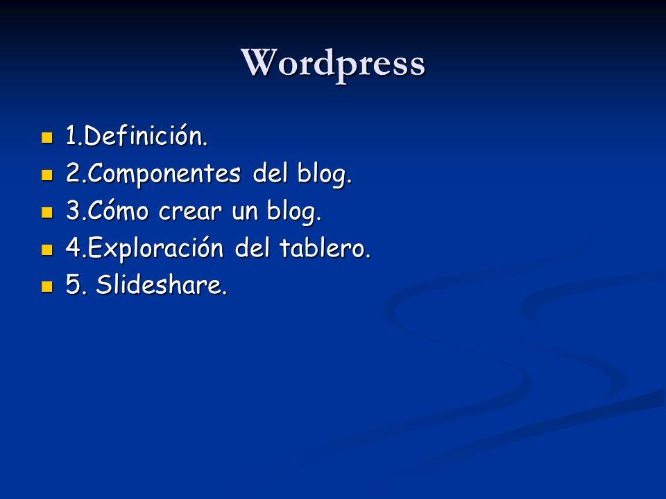 Wordpress 1.Definición. 2.Componentes del blog. 3.Cómo crear un blog.