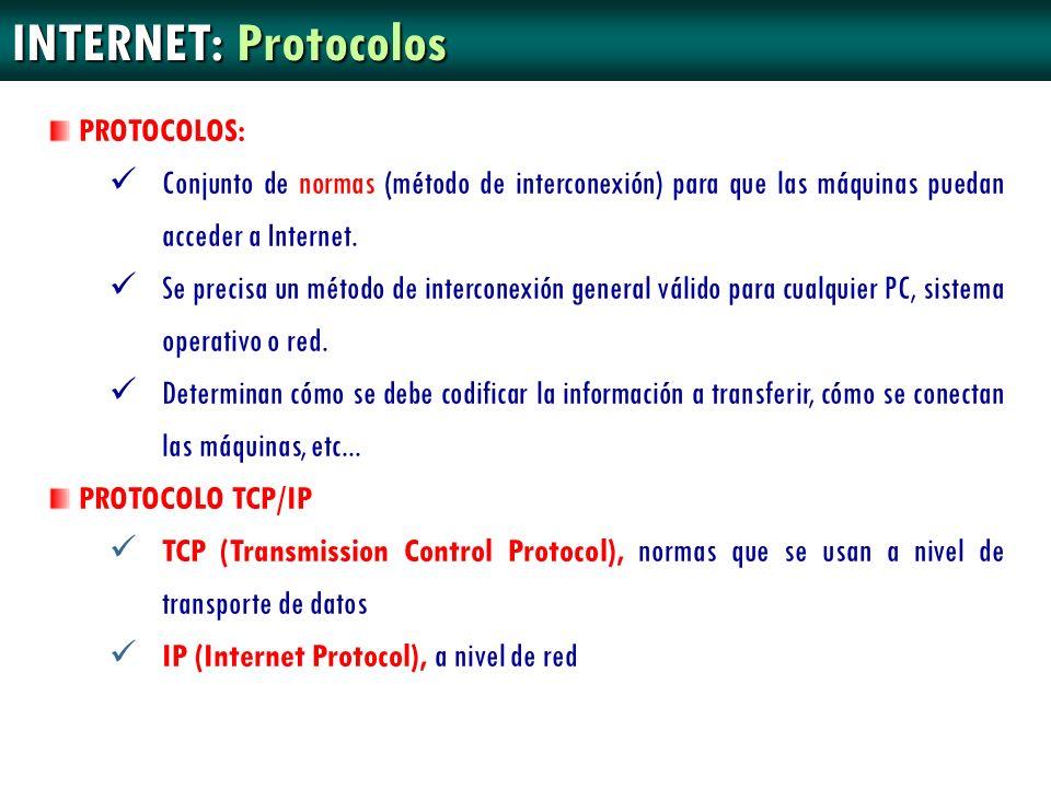 INTERNET: Protocolos PROTOCOLOS: