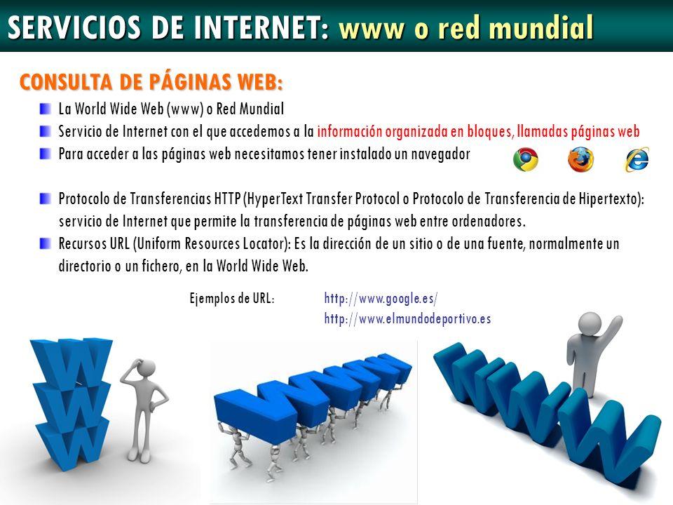 SERVICIOS DE INTERNET: www o red mundial