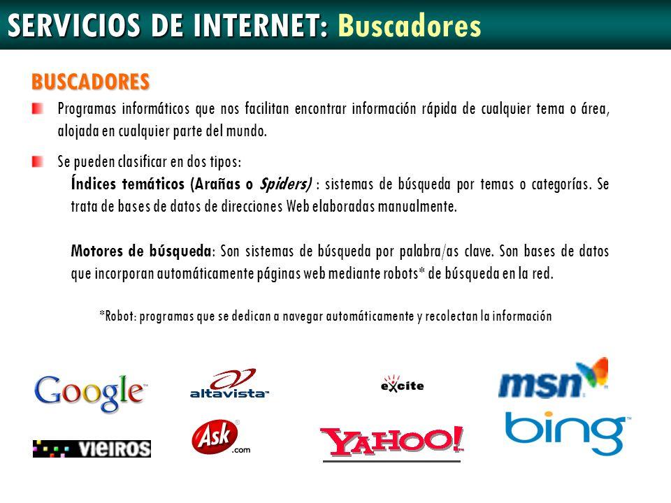SERVICIOS DE INTERNET: Buscadores