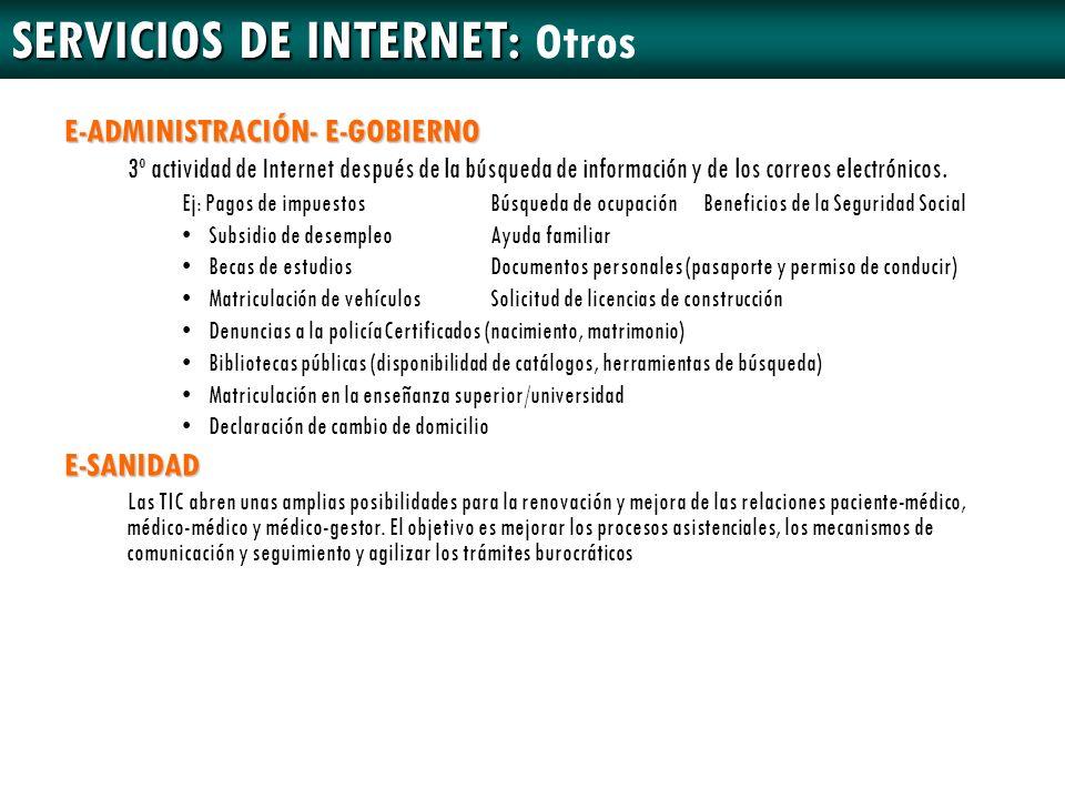SERVICIOS DE INTERNET: Otros