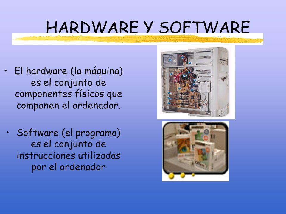 HARDWARE Y SOFTWARE El hardware (la máquina) es el conjunto de componentes físicos que componen el ordenador.