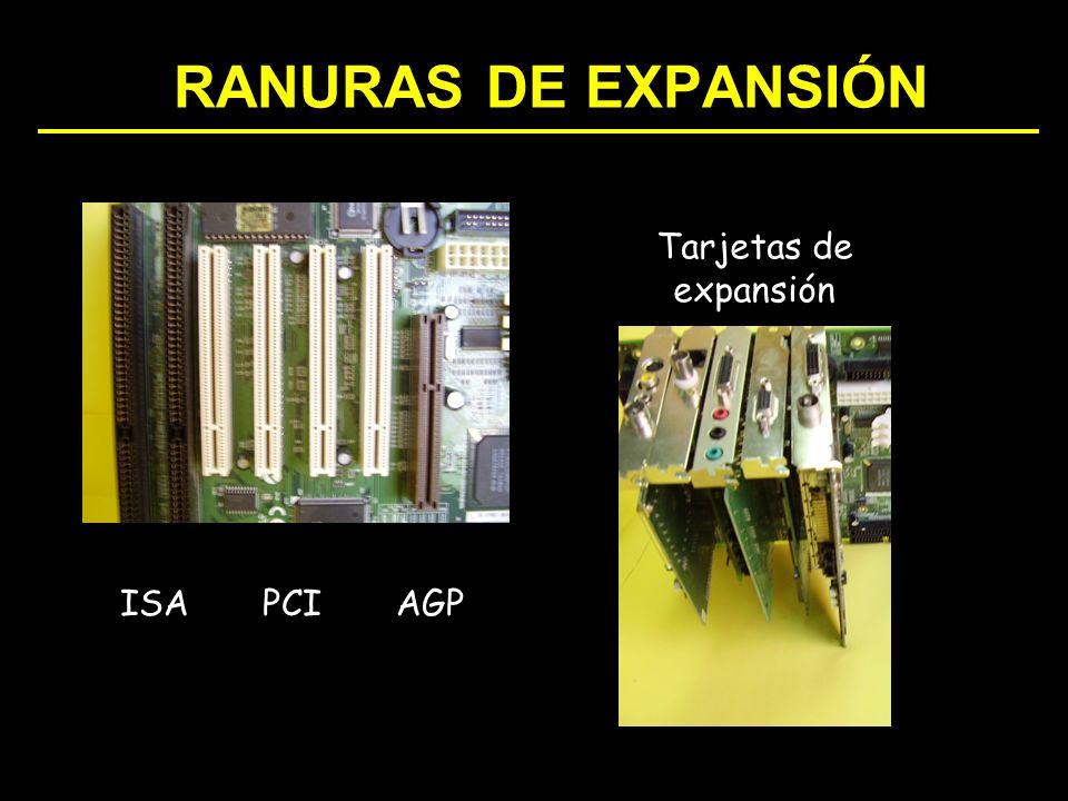 RANURAS DE EXPANSIÓN Tarjetas de expansión ISA PCI AGP