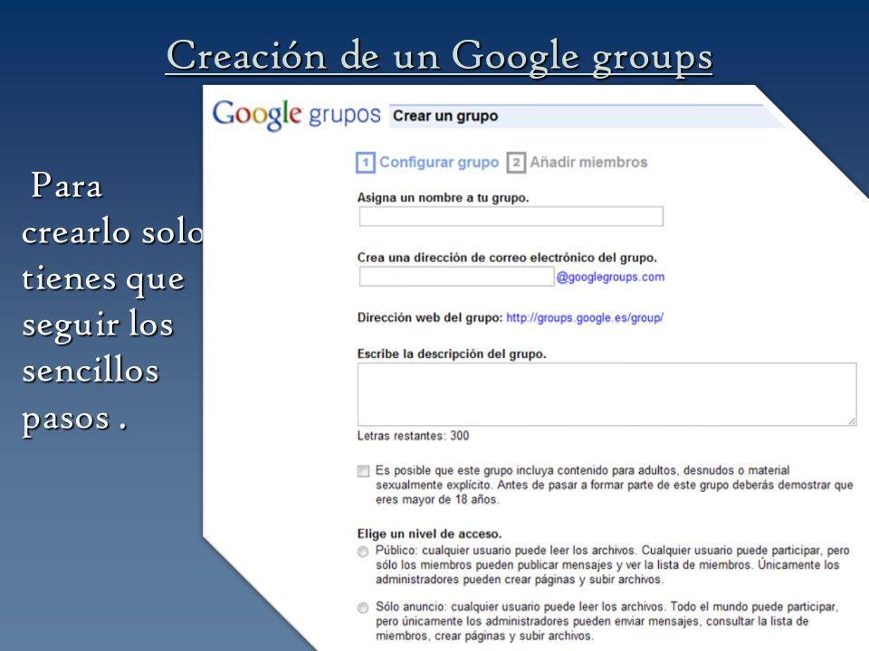 Creación de un Google groups