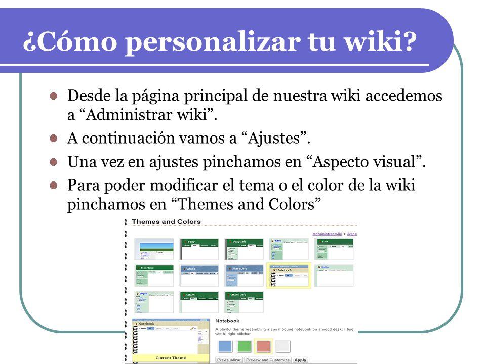 ¿Cómo personalizar tu wiki
