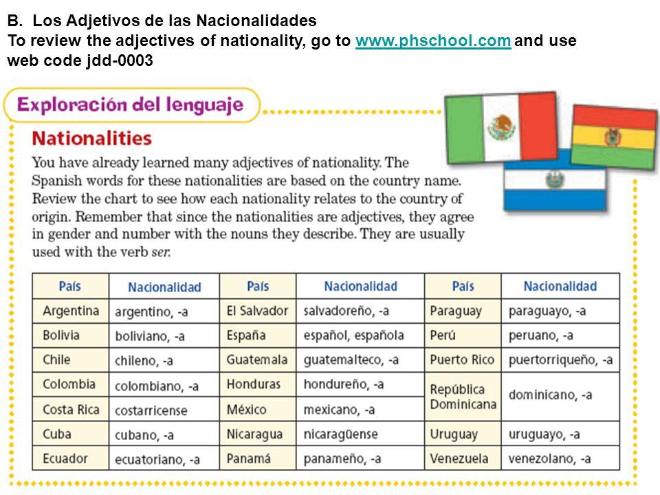 B. Los Adjetivos de las Nacionalidades