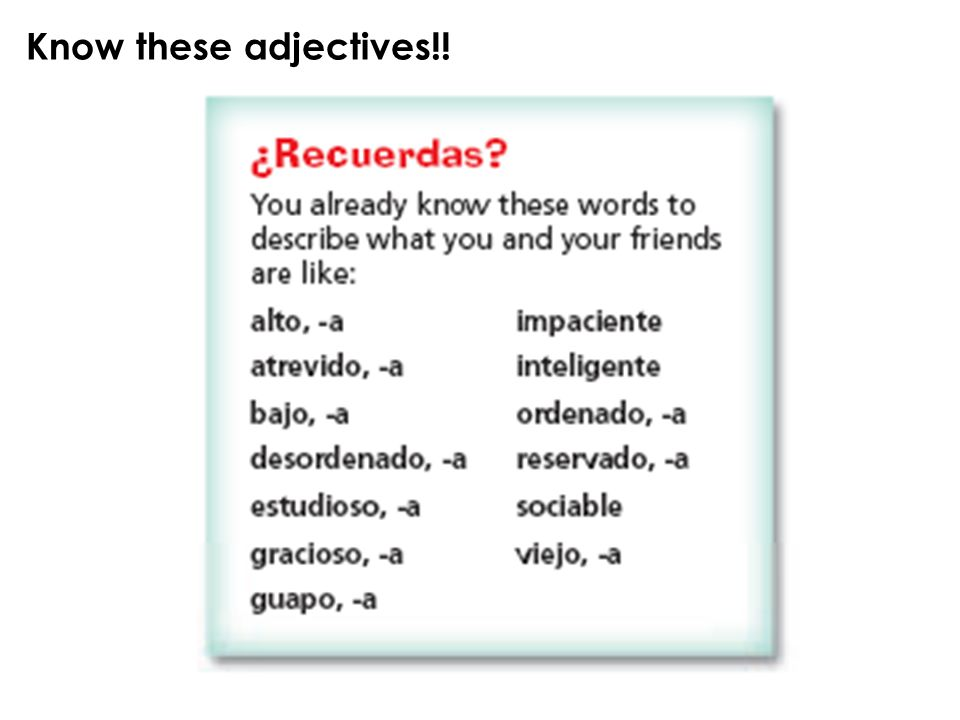 Know these adjectives!!
