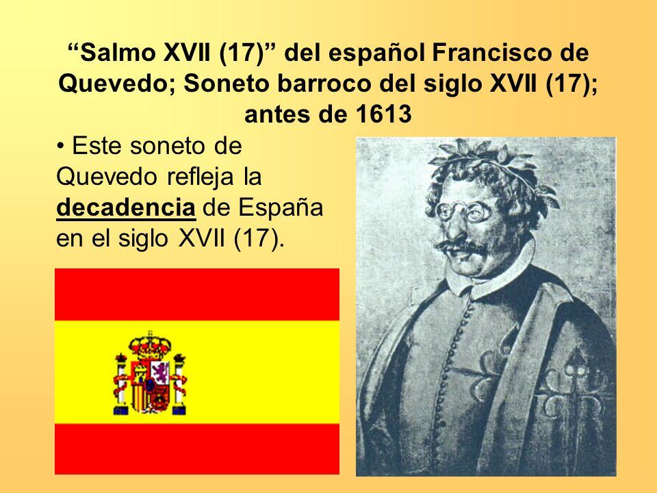 Salmo XVII (17) del español Francisco de Quevedo; Soneto barroco del siglo XVII (17); antes de 1613