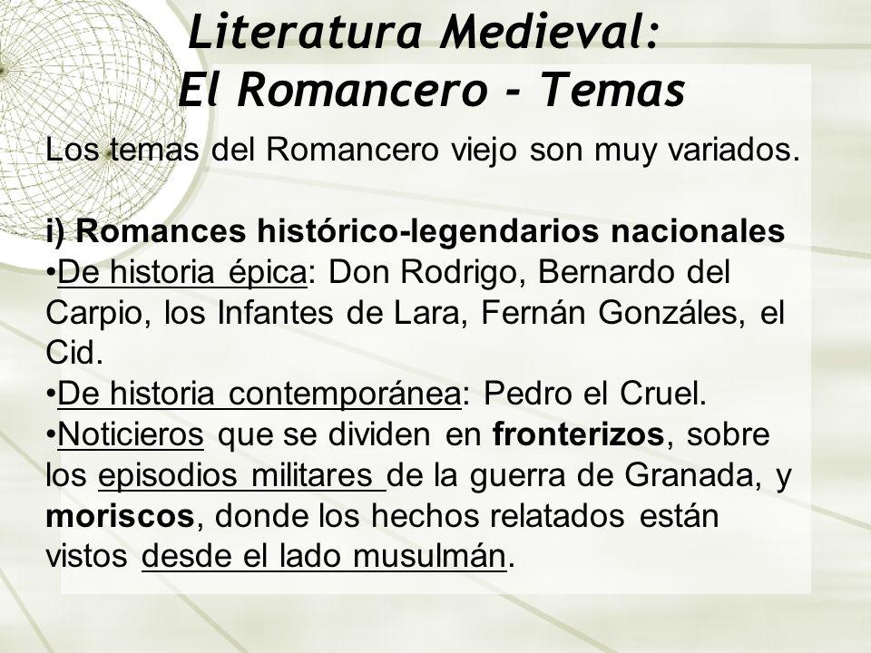Literatura Medieval: El Romancero - Temas