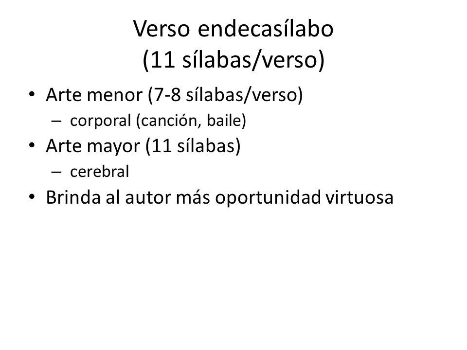 Verso endecasílabo (11 sílabas/verso)