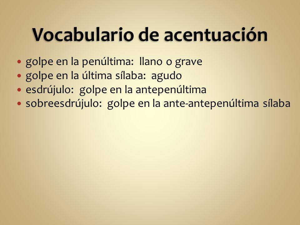 Vocabulario de acentuación