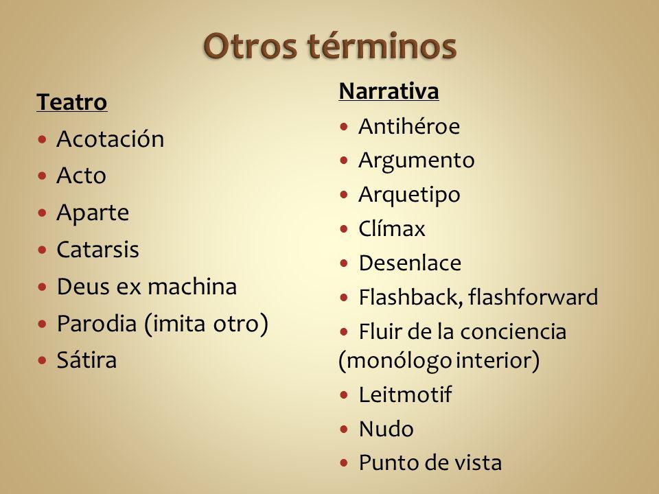Otros términos Narrativa Teatro Acotación Acto Aparte Catarsis