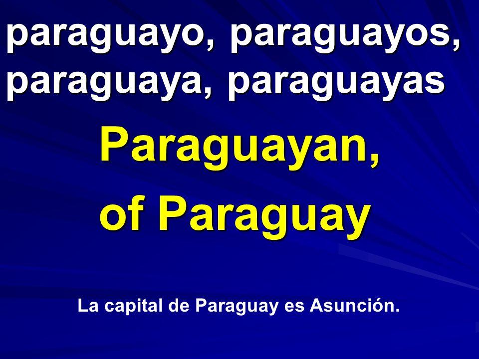 paraguayo, paraguayos, paraguaya, paraguayas