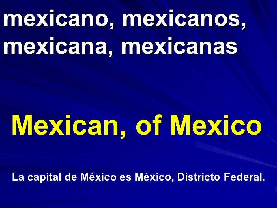 mexicano, mexicanos, mexicana, mexicanas