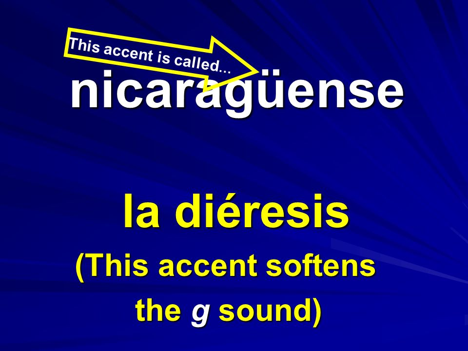 la diéresis (This accent softens the g sound) nicaragüense