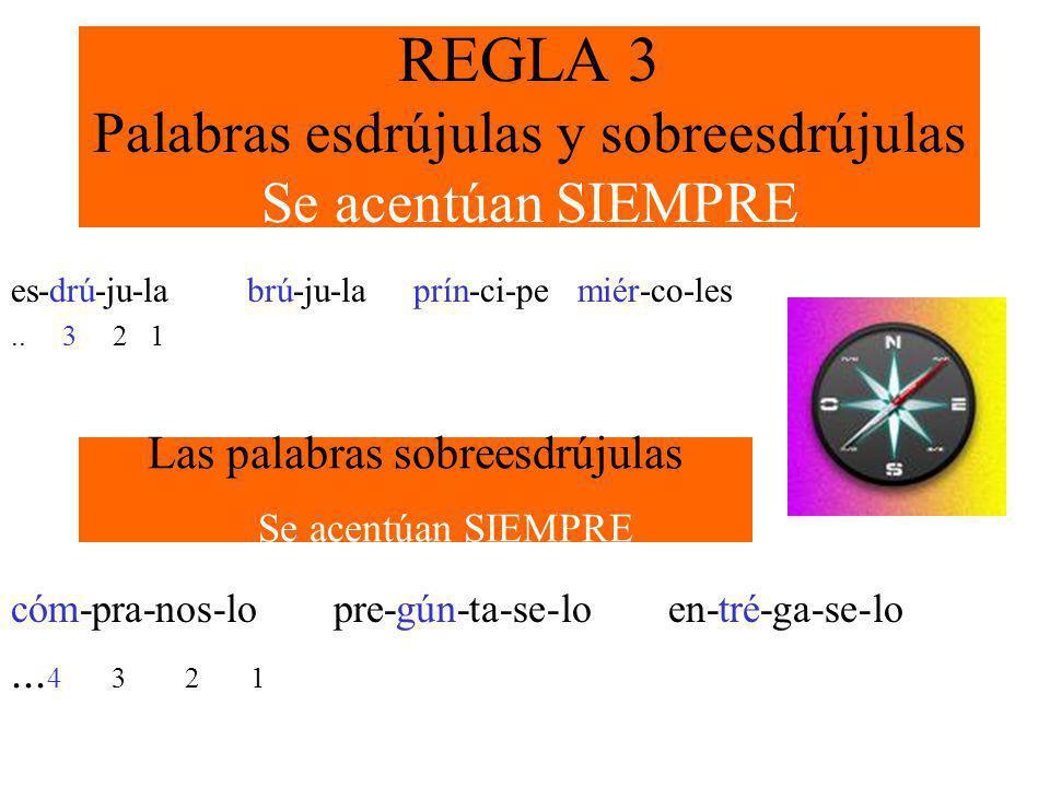 REGLA 3 Palabras esdrújulas y sobreesdrújulas Se acentúan SIEMPRE