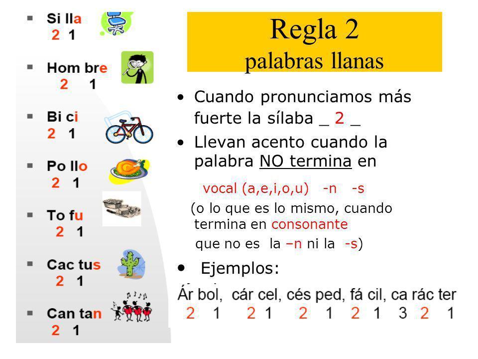 Regla 2 palabras llanas vocal (a,e,i,o,u) -n -s Ejemplos:
