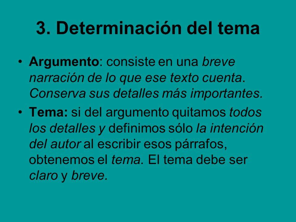 3. Determinación del tema