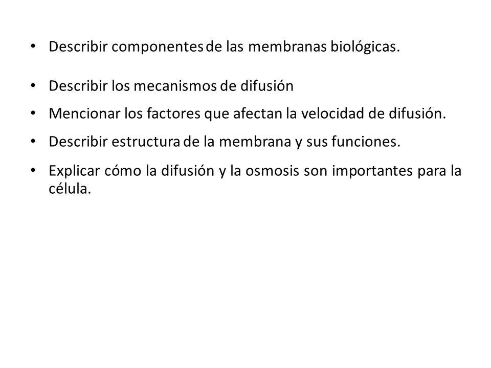 Describir componentes de las membranas biológicas.