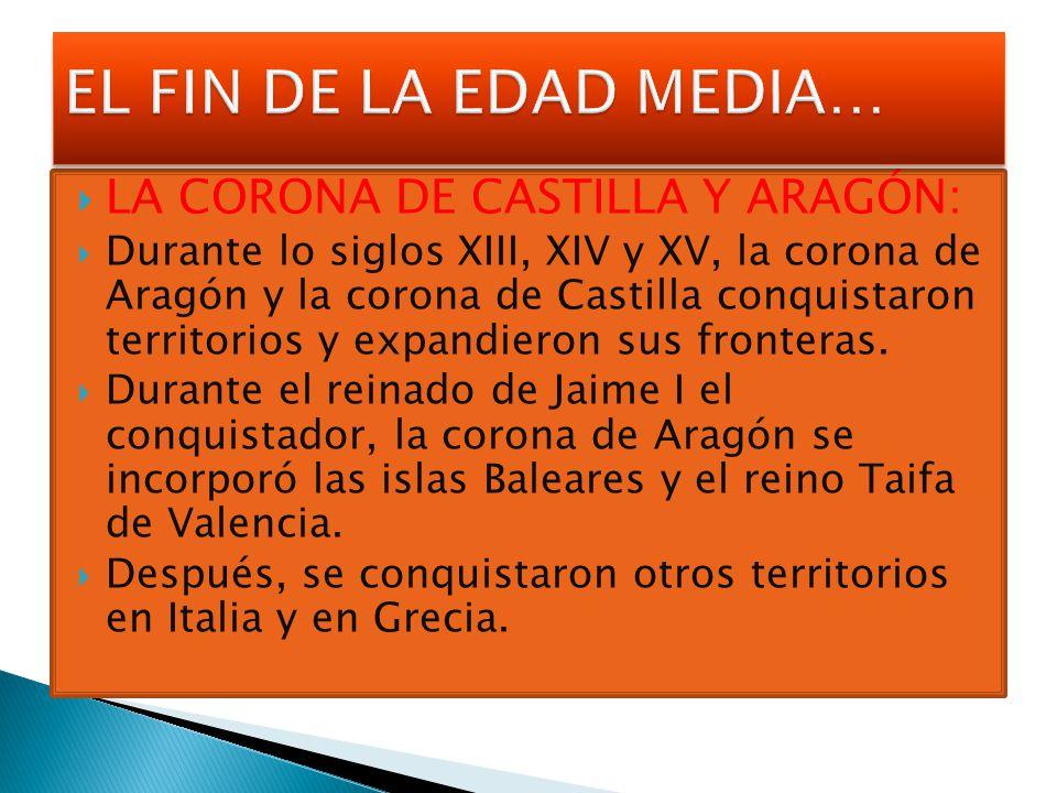 EL FIN DE LA EDAD MEDIA… LA CORONA DE CASTILLA Y ARAGÓN: