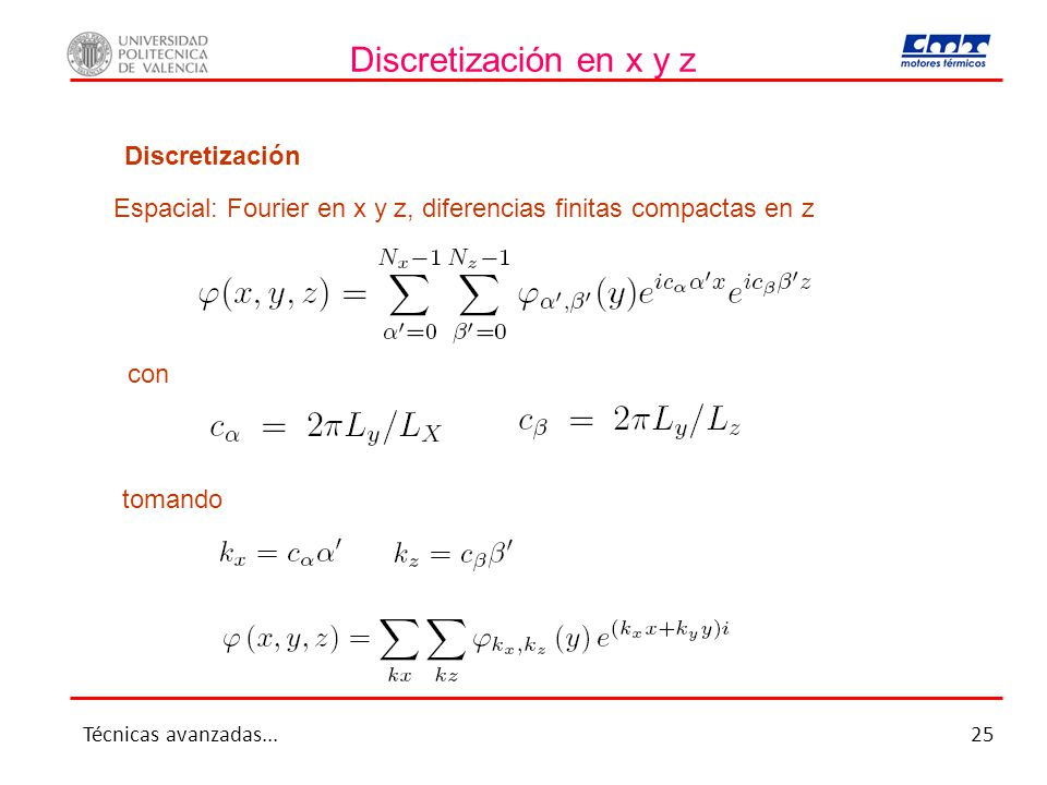 Discretización en x y z Discretización