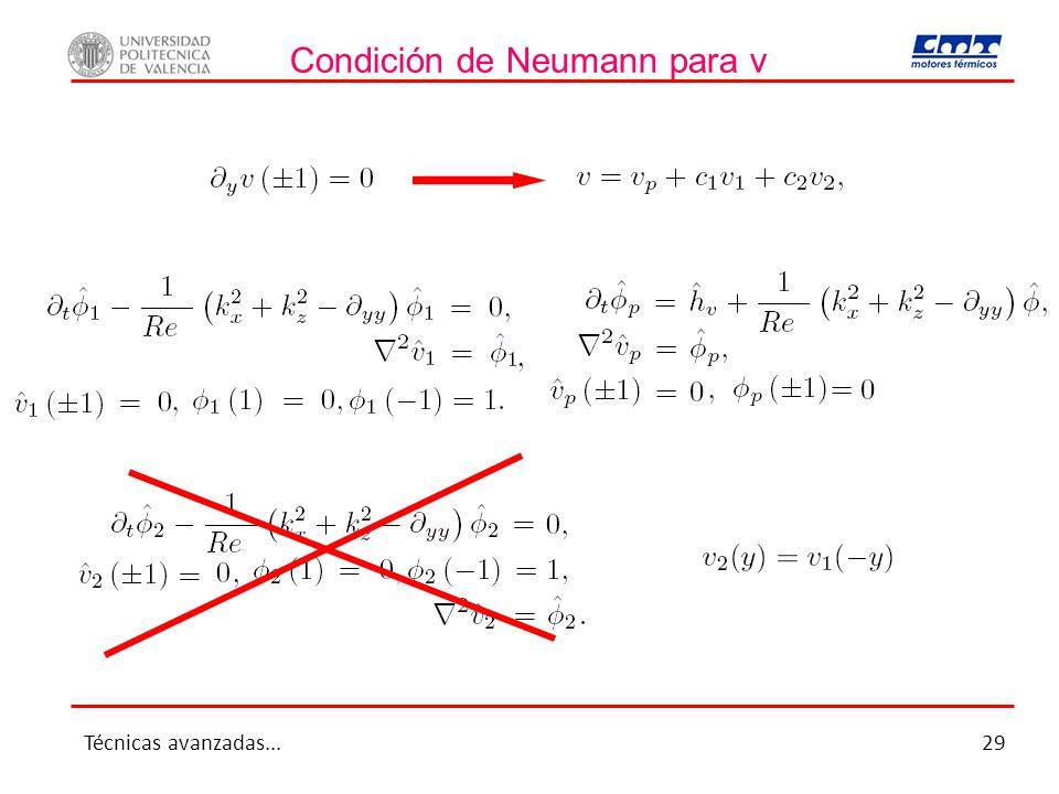Condición de Neumann para v