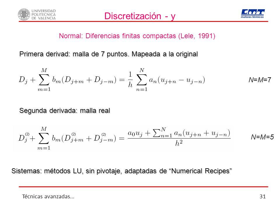 Discretización - y Normal: Diferencias finitas compactas (Lele, 1991)