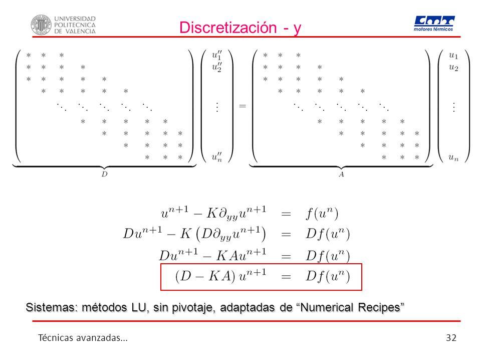 Discretización - y Sistemas: métodos LU, sin pivotaje, adaptadas de Numerical Recipes Técnicas avanzadas...