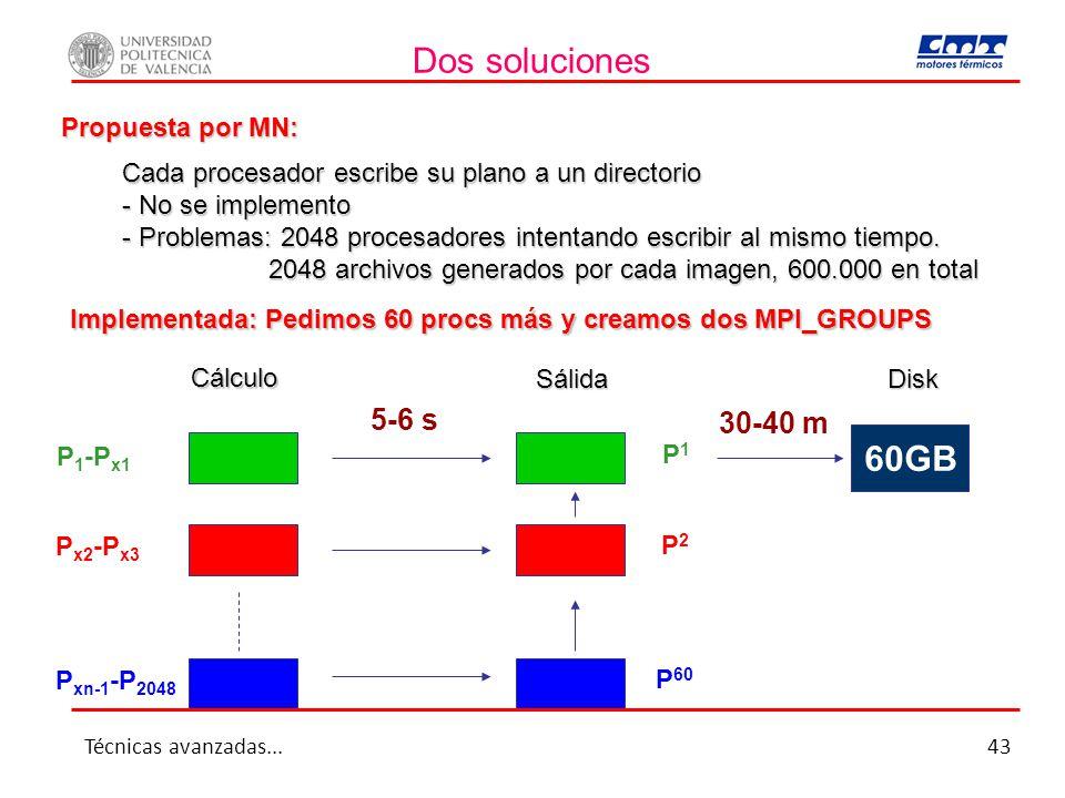Dos soluciones 60GB 5-6 s 30-40 m Propuesta por MN: