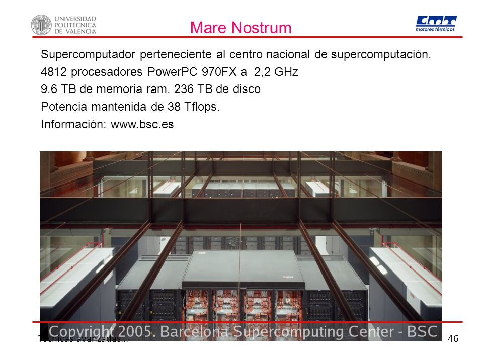 Mare Nostrum Supercomputador perteneciente al centro nacional de supercomputación. 4812 procesadores PowerPC 970FX a 2,2 GHz.