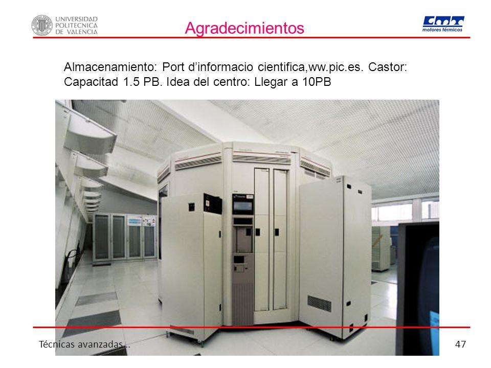 Agradecimientos Almacenamiento: Port d'informacio cientifica,ww.pic.es. Castor: Capacitad 1.5 PB. Idea del centro: Llegar a 10PB.
