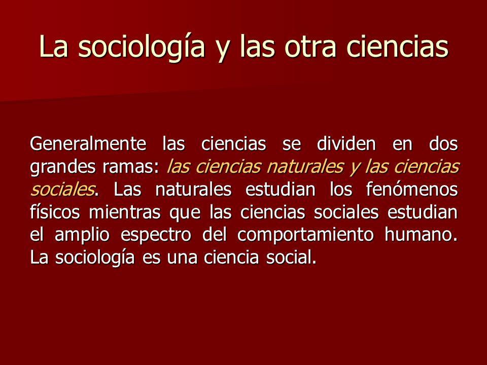 La sociología y las otra ciencias