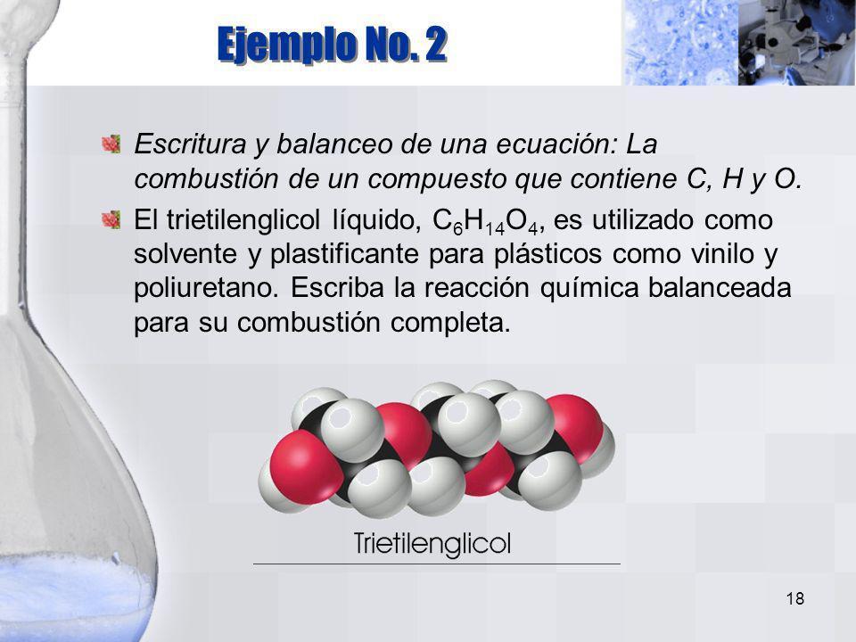Ejemplo No. 2 Escritura y balanceo de una ecuación: La combustión de un compuesto que contiene C, H y O.