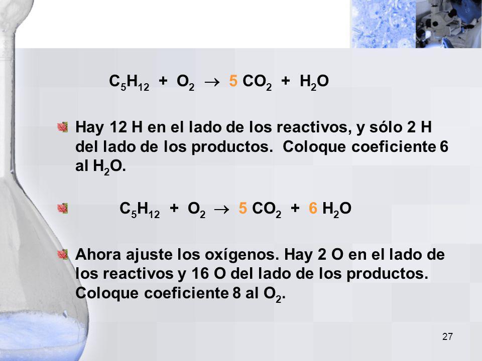 C5H12 + O2  5 CO2 + H2O Hay 12 H en el lado de los reactivos, y sólo 2 H del lado de los productos. Coloque coeficiente 6 al H2O.