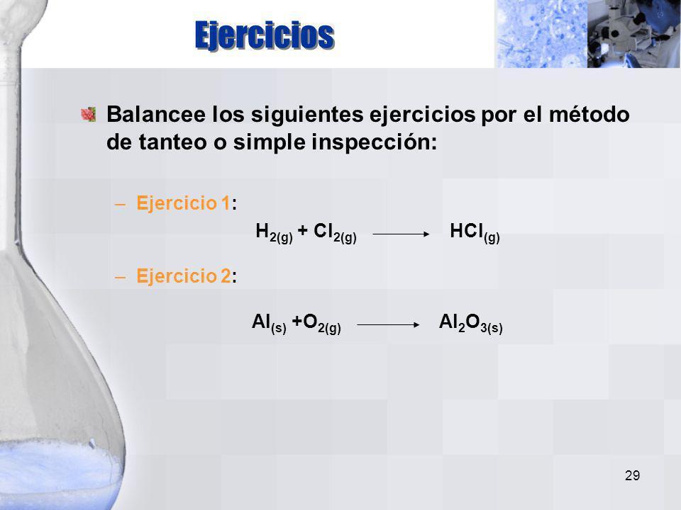 Ejercicios Balancee los siguientes ejercicios por el método de tanteo o simple inspección: Ejercicio 1: