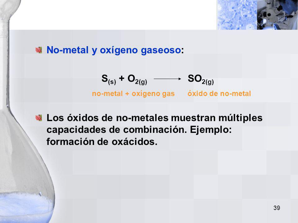 no-metal + oxígeno gas óxido de no-metal