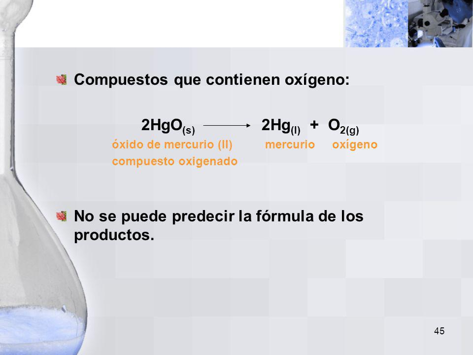 Compuestos que contienen oxígeno: 2HgO(s) 2Hg(l) + O2(g)